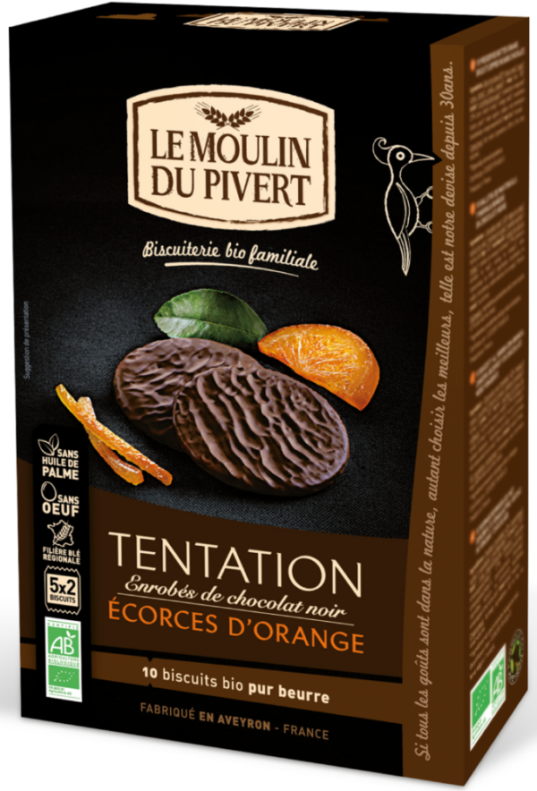 Tentation Candied Orange biscuits dipped in dark chocolate